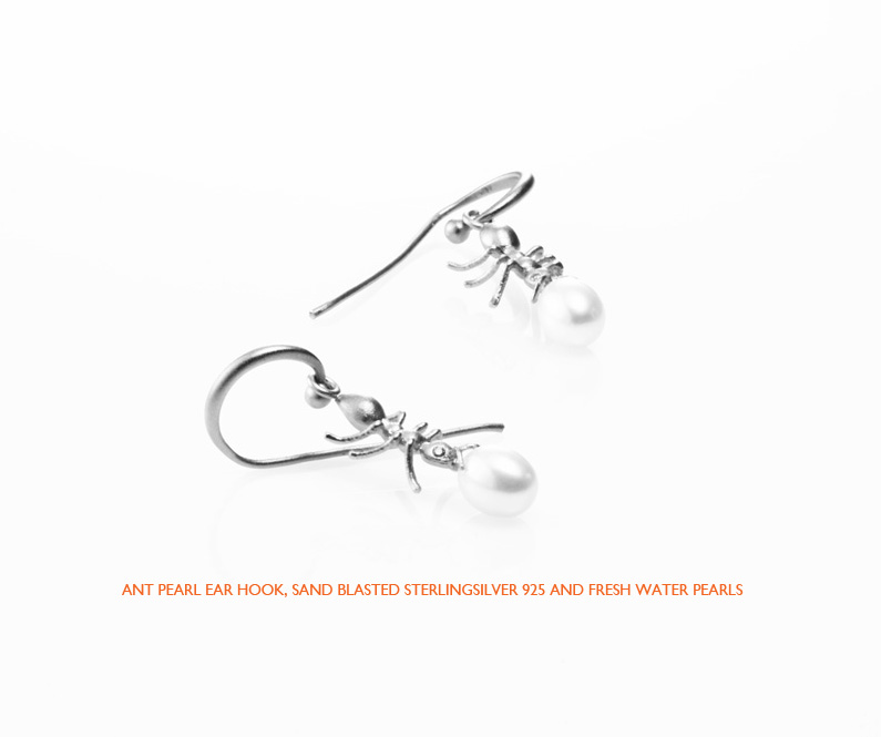 Ant pearl hook silver