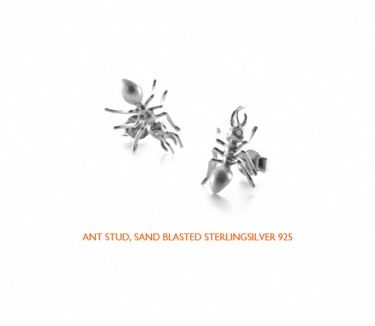 Ants stud silver